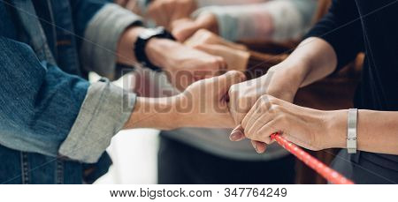 Panoramic Teamwork Business Join Hand Together Concept, Business Team Standing Hands Together, Volun