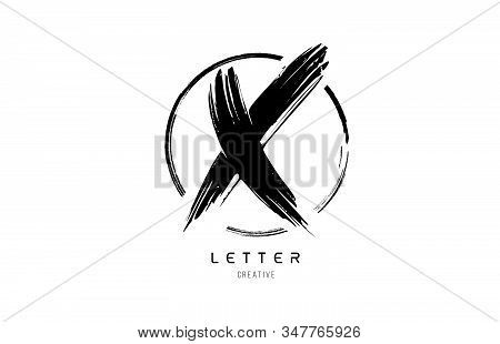 Handwritten Grunge X Brush Stroke Letter Alphabet Logo Icon Design Template With Circle In Black And