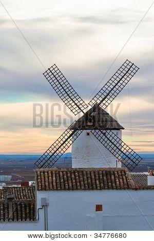 Old Spanish Windmill At Sunset