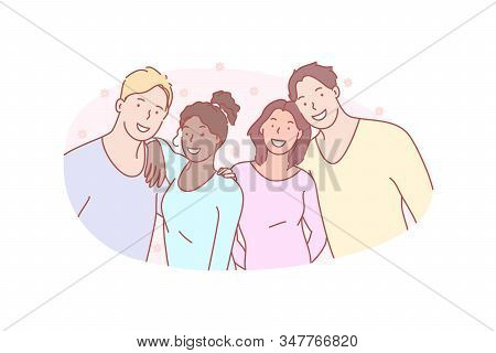 Photo, Group, Friend, Smile, Concept. Happy Smiling Friends Pose For Group Photo. Positive Teens Loo
