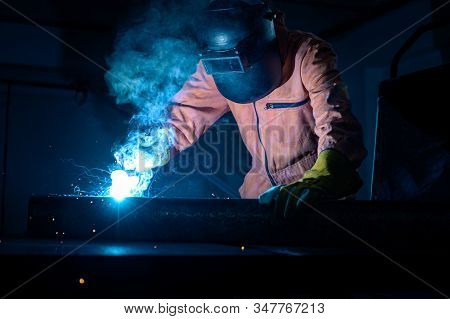Welder Is Welding Flux Cored Arc Welding Industrial Welding Part In Oil And Gas Or Petrochemical ,co