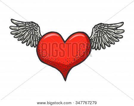 Heart Symbol Fly On Wings Sketch Engraving Vector Illustration. Romantic Love Lovesickness Symbol. T