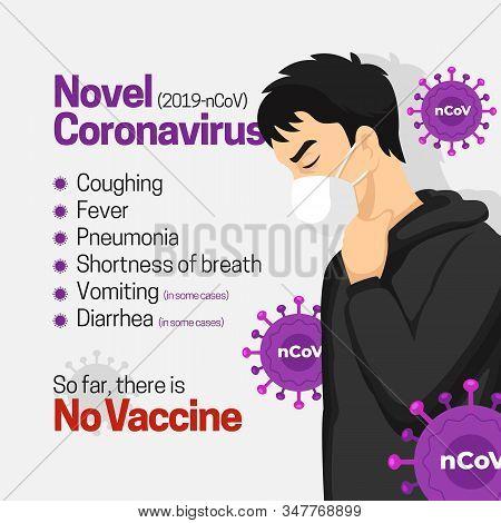 Novel Coronavirus Symptoms List Infographic Poster Background Design. Man Wearing Face Masker Infect