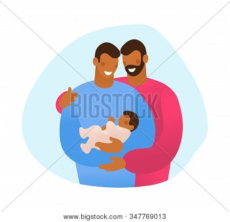 Lgbt Family Hugs Their Child. Male Gay Couple With A Son. A Simple Card About Several Generations, A