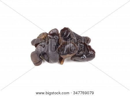 Fresh Black Jew's Ear Mushroom On White Background