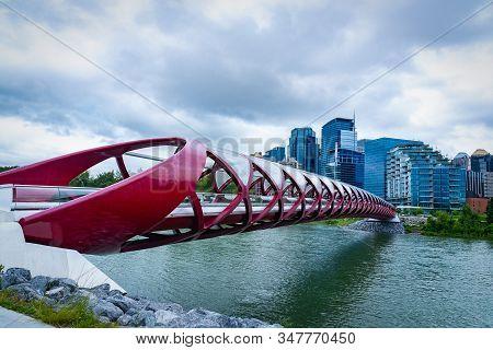 Red Colored Peace Bridge Calgary Alberta Canada