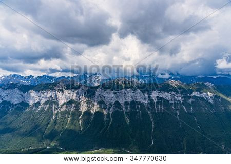 View Of Clouds Blanketing Rocky Mountains From Mt Rundle