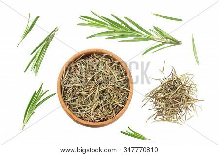 Rosemary Leaves Isolated On White Background. Top View