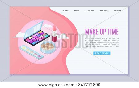 Makeup Beauty Cosmetics And Accessories Production Website For Ladies Make Up Vector Illustration. B