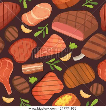 Beef Meat Steaks, Grill Menu For Restaurant, Barbecue And Meat Food Seamless Pattern, Vector Illustr