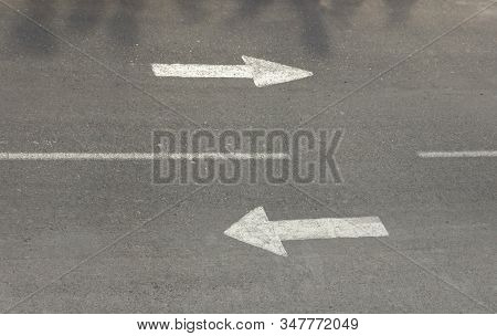 Two Ways Road Signs On Asphalt Street. Concept Of Way And Choice