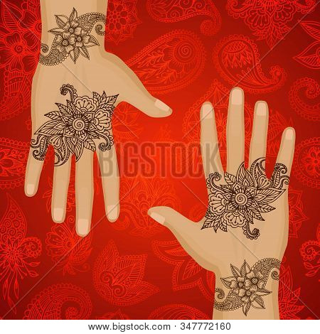 Mehendi Hands Oriental Floral Ornament In Indian Mehndi Style On Red Background, Vector Illustration