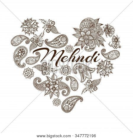 Mehendi Oriental Floral Ornament In Indian Mehndi Style In Heart Shape, Vector Illustration. Abstrac
