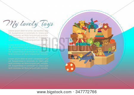 My Favorite Toys, Time To Play, Kids Games Vector Illustrations With Soft Animals, Small Cars And Ea