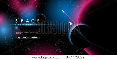 Creative Space Background With Abstract Shape And Planets. Colorful Space Poster With Text Template.