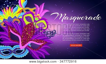 Masquerade, Carnival Or Mardi Gras Banner With Cartoon Masks And Feathers Banner Vector Illustration