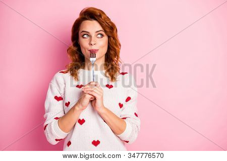 Close-up Portrait Of Her She Nice Attractive Pretty Dreamy Cheerful Wavy-haired Girl Licking Fork Wa