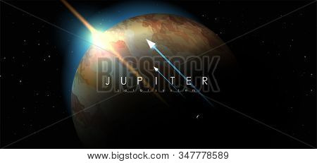 Jupiter, Creative Vector Planet. Space Background. Galaxy Colorful Abstract Futuristic Illustration.