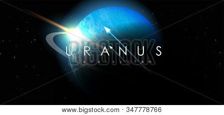 Uranus, Creative Vector Planet. Space Background. Galaxy Colorful Abstract Futuristic Illustration.