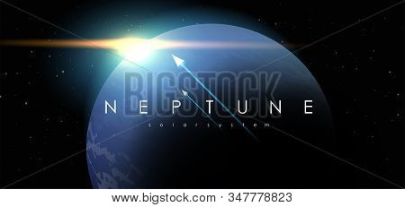 Neptune, Creative Vector Planet. Space Background. Galaxy Colorful Abstract Futuristic Illustration.