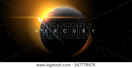 Mercury, Creative Vector Planet. Space Background. Galaxy Colorful Abstract Futuristic Illustration.