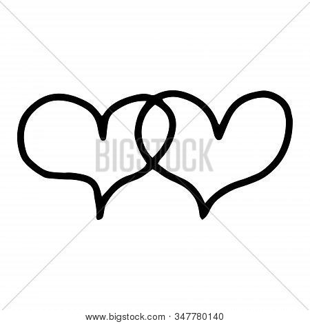 2 Overlapping Hearts, Overlapping Hearts.manual Contour Drawing, Doodles.drawing A Line.black And Wh
