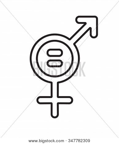 Vector Flat Outline Gender Equality Concept Icon. Man And Woman Sign Isolated On White Background