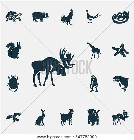 Animal Icons Set With Gibbon, Hippo, Pheasant And Other Hawk Elements. Isolated Vector Illustration