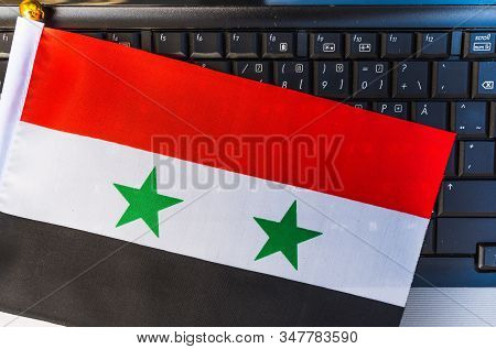 Flag Of Syria On Computer, Laptop Keyboard