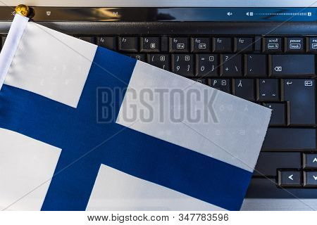 Flag Of Finland On Computer, Laptop Keyboard