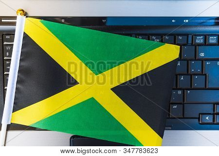 Flag Of Jamaica On Computer, Laptop Keyboard