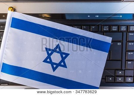 Flag Of Israel On Computer, Laptop Keyboard