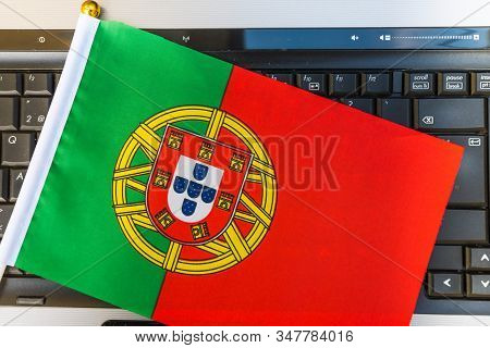Flag Of Portugal On Computer, Laptop Keyboard