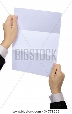 Woman Hold Blank Paper