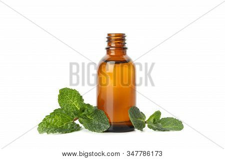 Medical Bottle And Mint Isolated On White Background