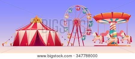 Amusement Carnival Park With Circus Tent And Attractions Ferris Wheel And Carousel With Horses. Set