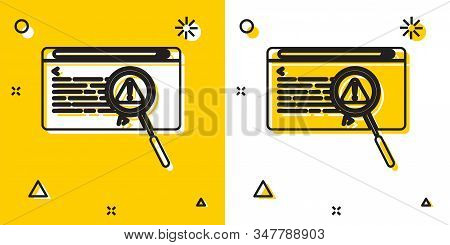 Black System Bug Concept Icon Isolated On Yellow And White Background. Code Bug Concept. Bug In The