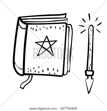 Halloween Illustration With Magic Symbol. Book Of Oracle Predictions Cartoon Vector Doodle Illustrat