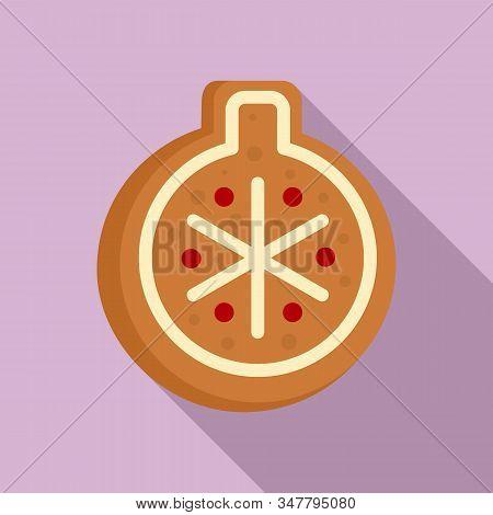 Gingerbread Tree Ball Icon. Flat Illustration Of Gingerbread Tree Ball Vector Icon For Web Design