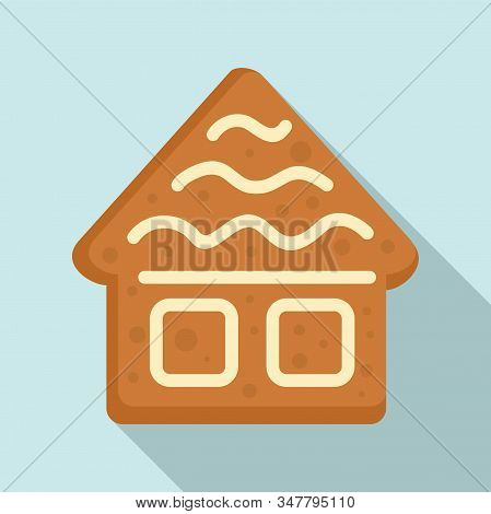 Gingerbread House Icon. Flat Illustration Of Gingerbread House Vector Icon For Web Design