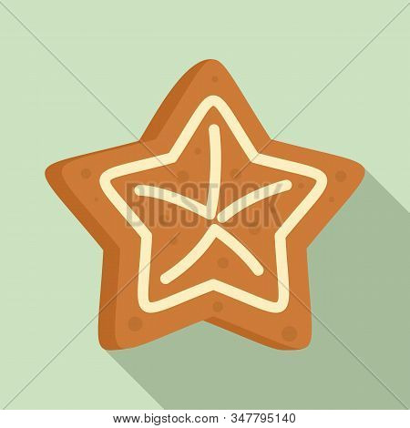 Gingerbread Star Icon. Flat Illustration Of Gingerbread Star Vector Icon For Web Design