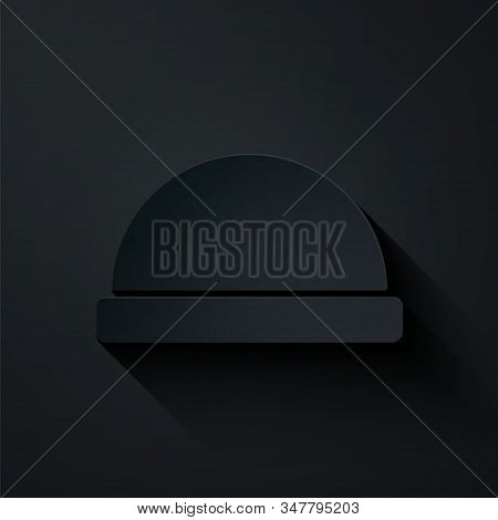 Paper Cut Beanie Hat Icon Isolated On Black Background. Paper Art Style. Vector Illustration