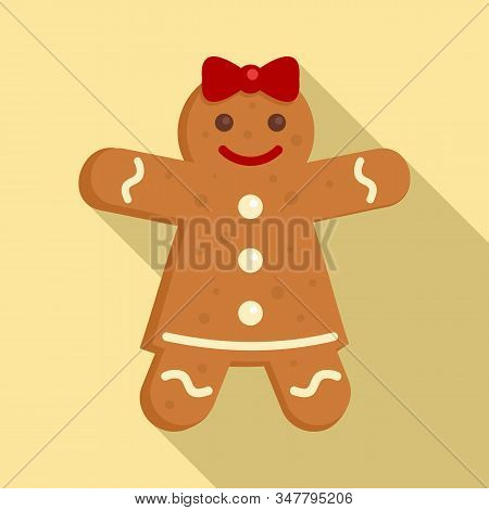 Gingerbread Girl Icon. Flat Illustration Of Gingerbread Girl Vector Icon For Web Design