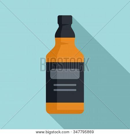 Whiskey Bottle Icon. Flat Illustration Of Whiskey Bottle Vector Icon For Web Design