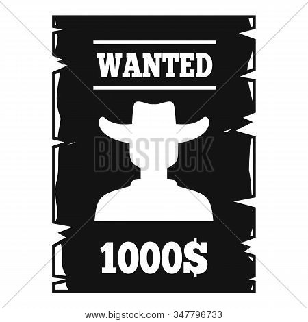 Western Wanted Paper Icon. Simple Illustration Of Western Wanted Paper Vector Icon For Web Design Is