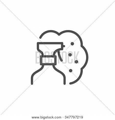 Pulverizer Spray Line Icon Isolated On White Background. Nozzle For Spraying Liquids And Chemicals.