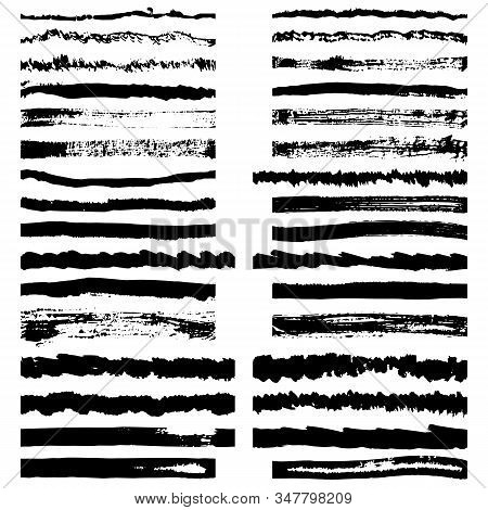 Vector Set Of Ink Drawn Black Rough Brushes On A White Background. Processed Prints For Creating Clo