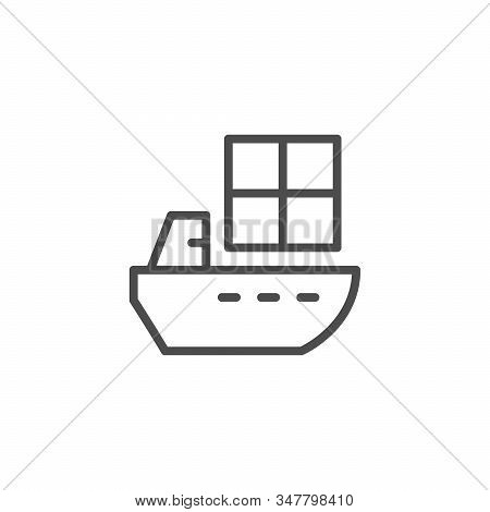 Ship Delivery Line Outline Icon Isolated On White. Shipping And Delivering Service. Sea Vessel With