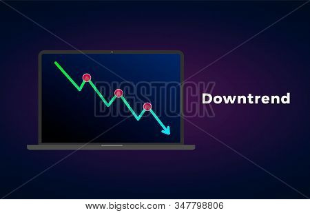 Downtrend Trend Definition Flat Icon With Laptop And Text - Bearish Chart Pattern Figure Technical A