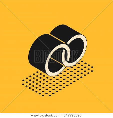 Isometric Wedding Rings Icon Isolated On Yellow Background. Bride And Groom Jewelery Sign. Marriage